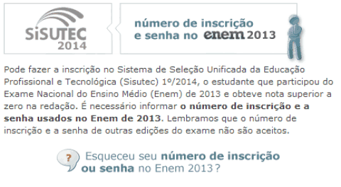 Inscrições para o Sisutec 2014