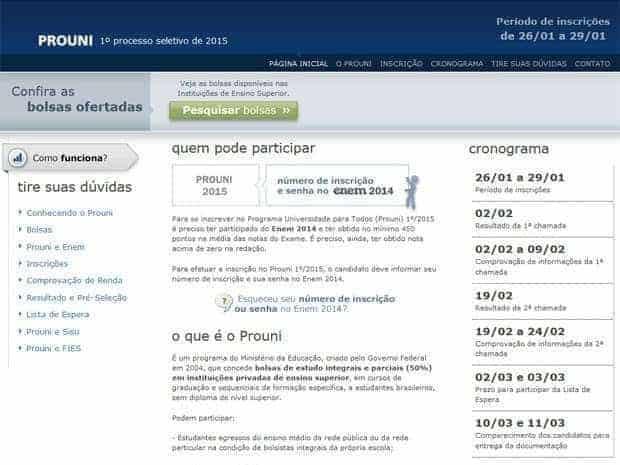Inscrições para o ProUni 2015