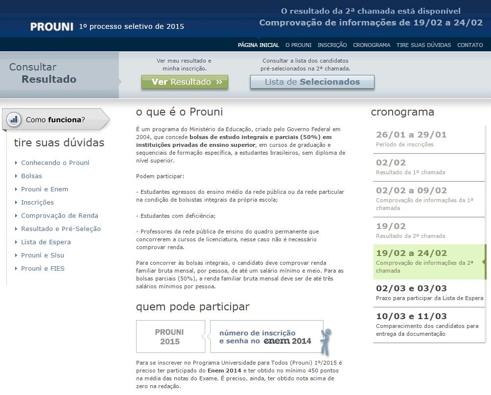MEC divulga resultado da segunda chamada do ProUni 2015