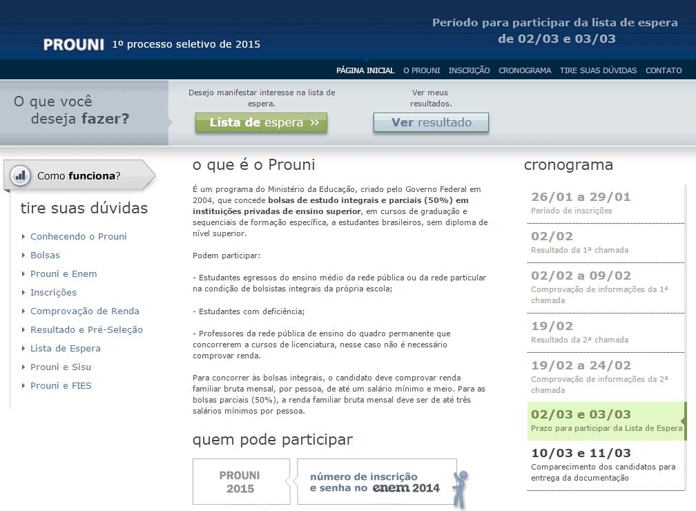 Inscrições Lista de Espera ProUni 2015