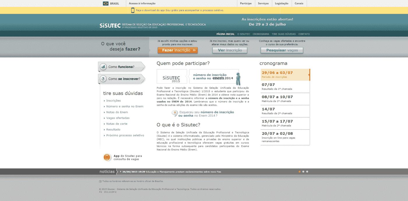 Inscrições para o Sisutec 2015