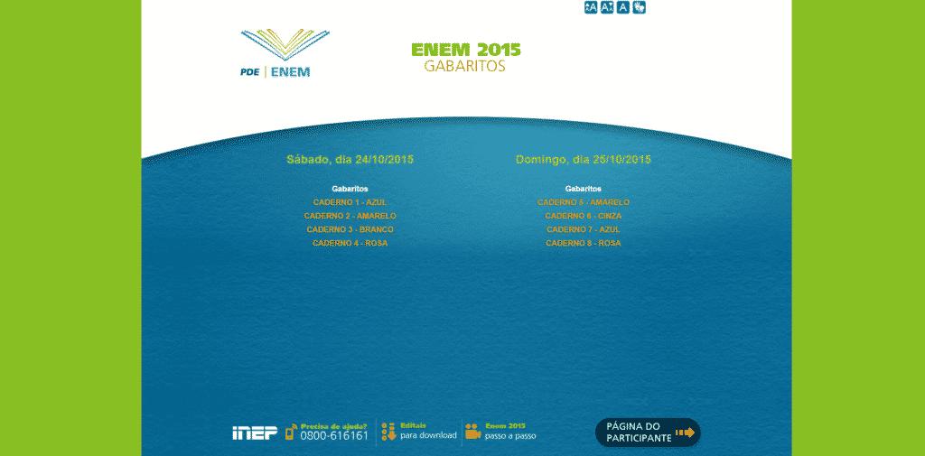 Gabaritos Oficiais das provas do Enem 2015 estão disponíveis