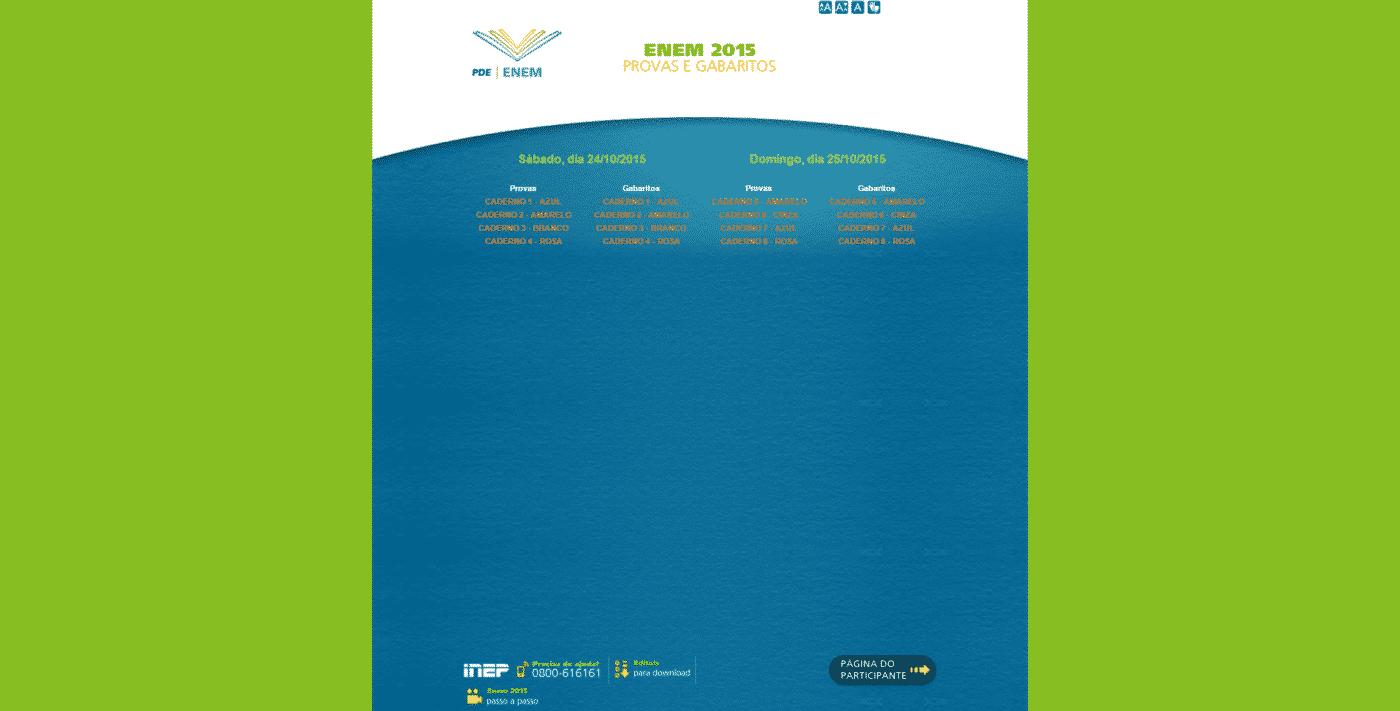 Provas digitalizadas oficiais do Enem 2015