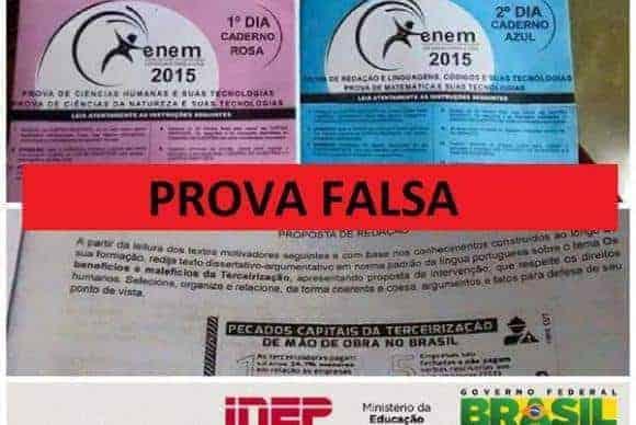 São falsas fotos de provas do Enem 2015 nas redes sociais, diz Inep