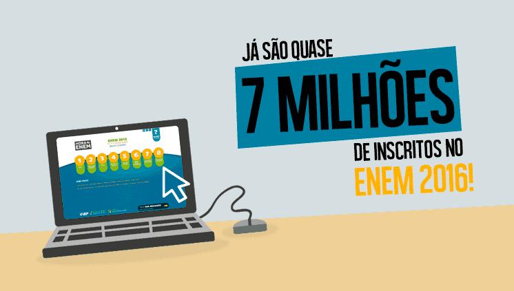 Quase 7 milhões inscritos no Enem 2016