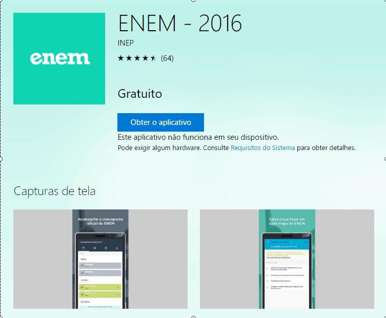 Baixe agora o aplicativo Oficial do Enem para smartphones com o sistema Windows