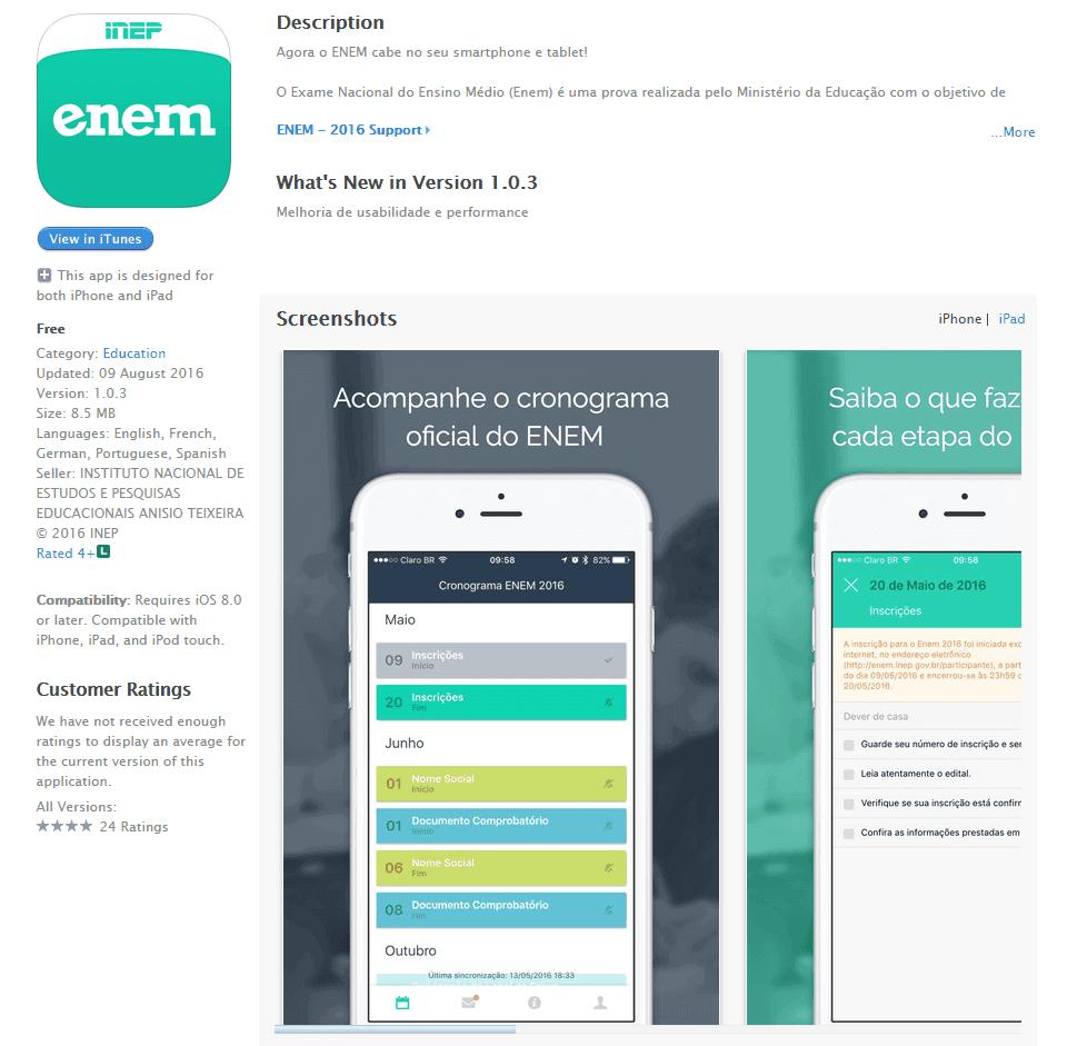Baixe agora o aplicativo Oficial do Enem para smartphones com o sistema iOS