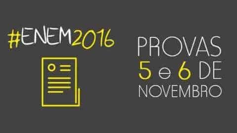 Data e Local de Prova do Enem 2016