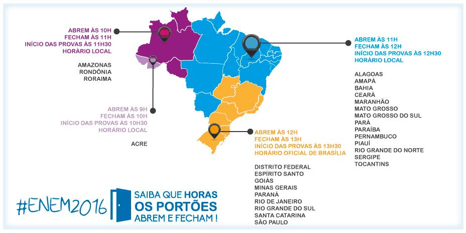 Horários de abertura e fechamento dos portões do Enem (2016)