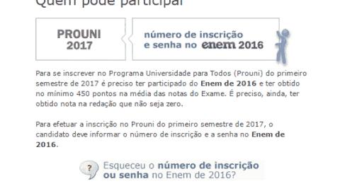 Documentação necessária para o ProUni 2017