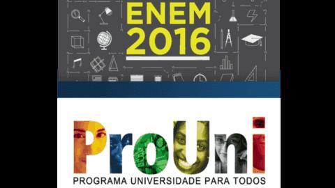 Qual é a relação entre o Prouni 2017 e o Enem 2016