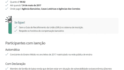 Como realizar o pagamento da taxa de inscrição do Enem 2017