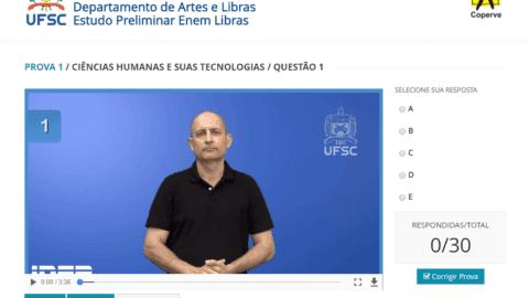 Exemplo de prova do Enem em vídeo traduzida em Libras