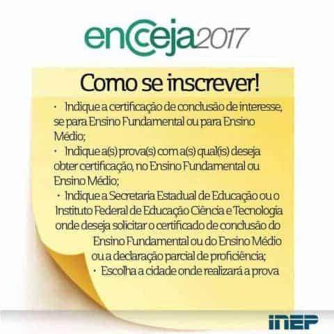 Até quando poderá ser feita a inscrição para o ENCCEJA 2017