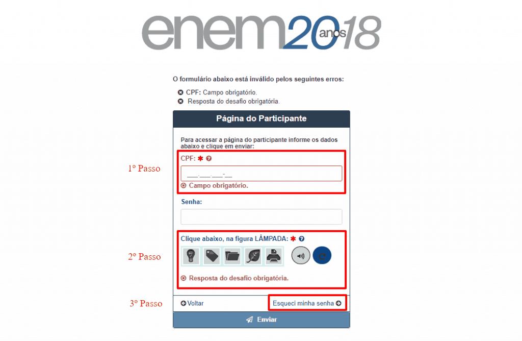 Como acessar sua Página do Participante ENEM 2018 - SENHA