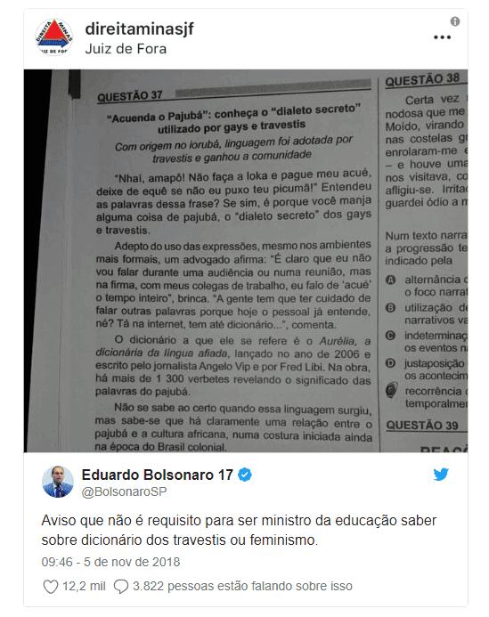 Bolsonaro critica Enem e diz que prova deve cobrar conhecimentos úteis