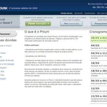 Todas as informações sobre as inscrições do ProUni 2020